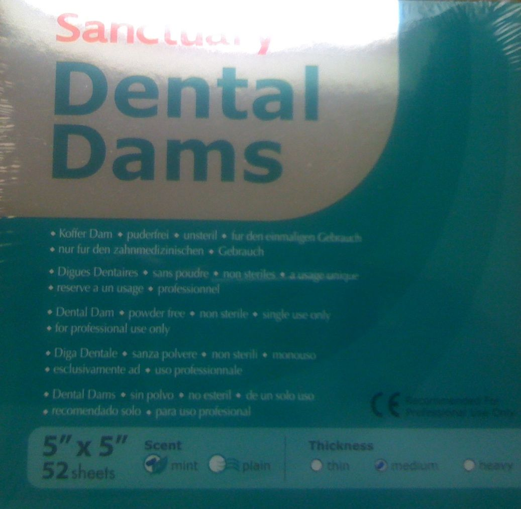 "Dental Dams Sanctuary 5""x5"" mint medium"