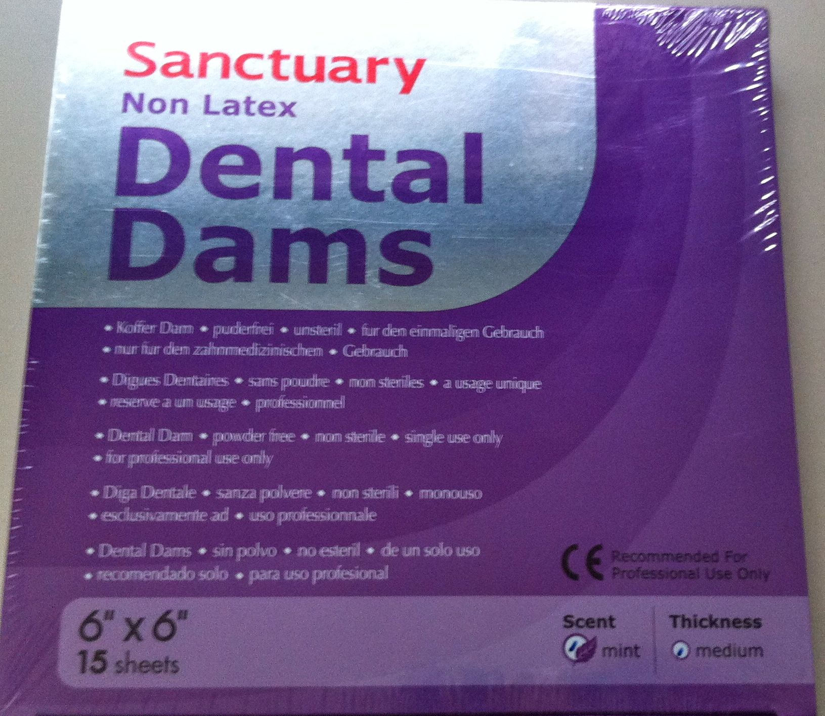 "Dental Dams Sanctuary Non-Latex 6""x6"""